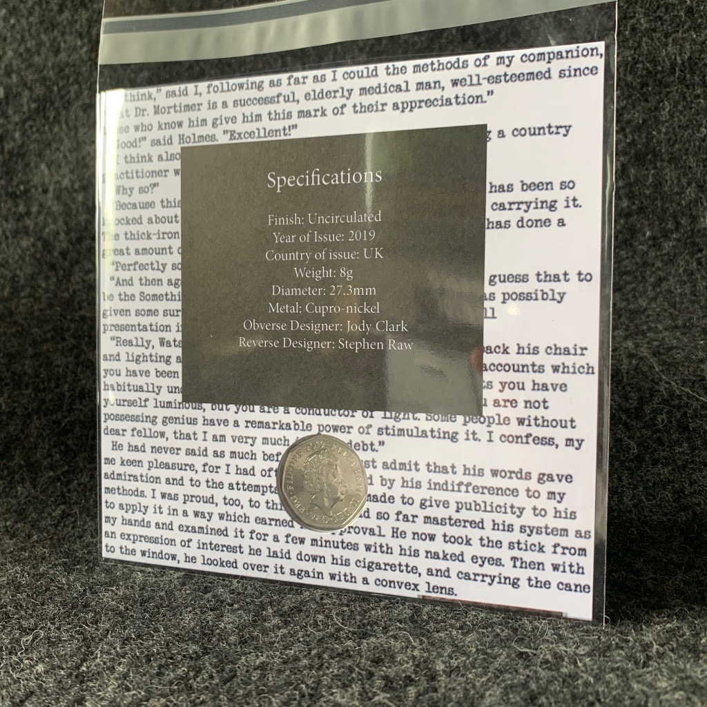 CoinCollective Sherlock Holmes 50p Grey Decal Uncirculated