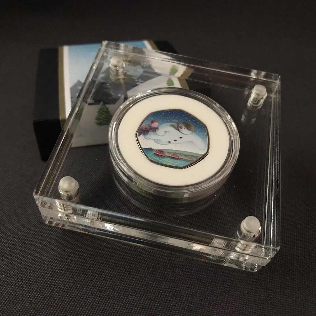 50p Snow Christmas Perspex Display ideal for The Snowman 50p Coin
